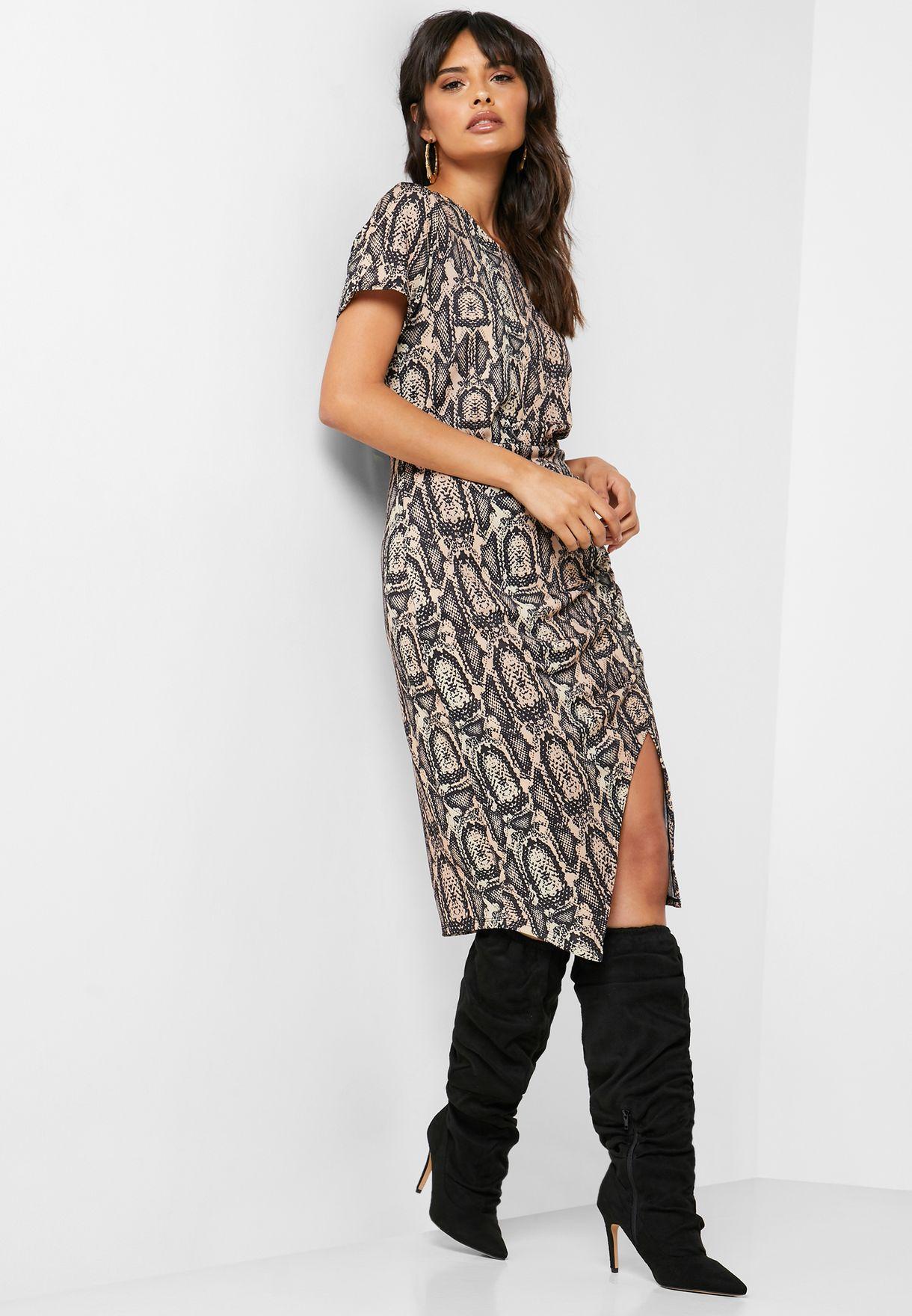 Side Split Printed Wrap Dress