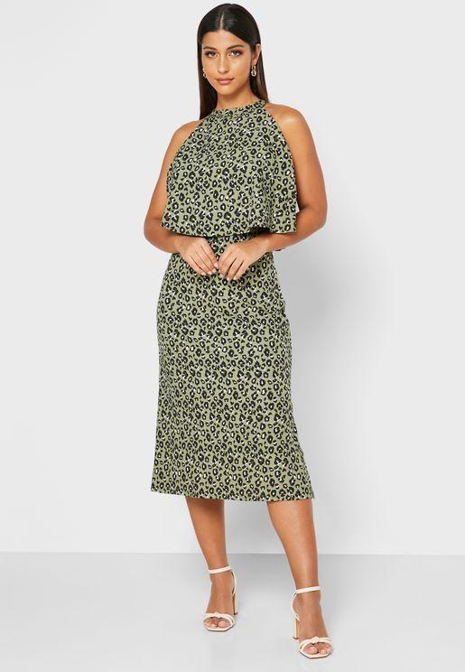 Side Slit Animal Print Dress