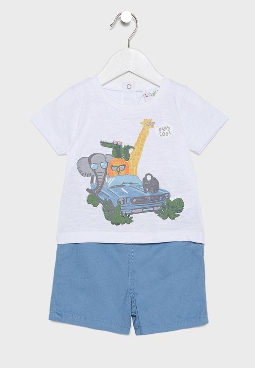 Infant Printed T-Shirt + Shorts