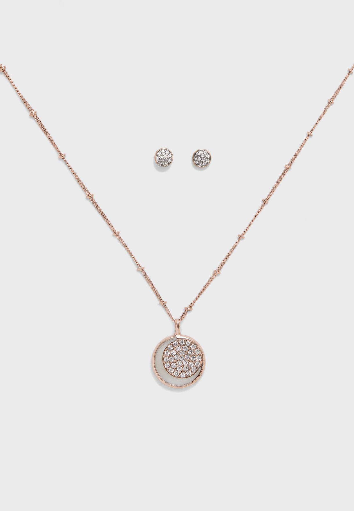 Moon And Back Necklace+Earring Set