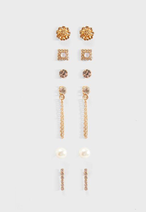 Multipack Floral & Chain Stud Earrings