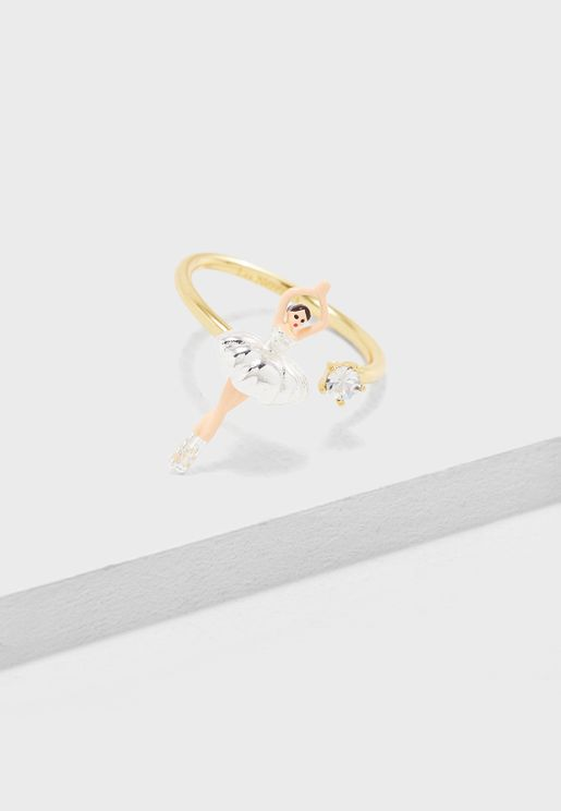 Mini Ballerina In Silver Tutu Adjustable Ring