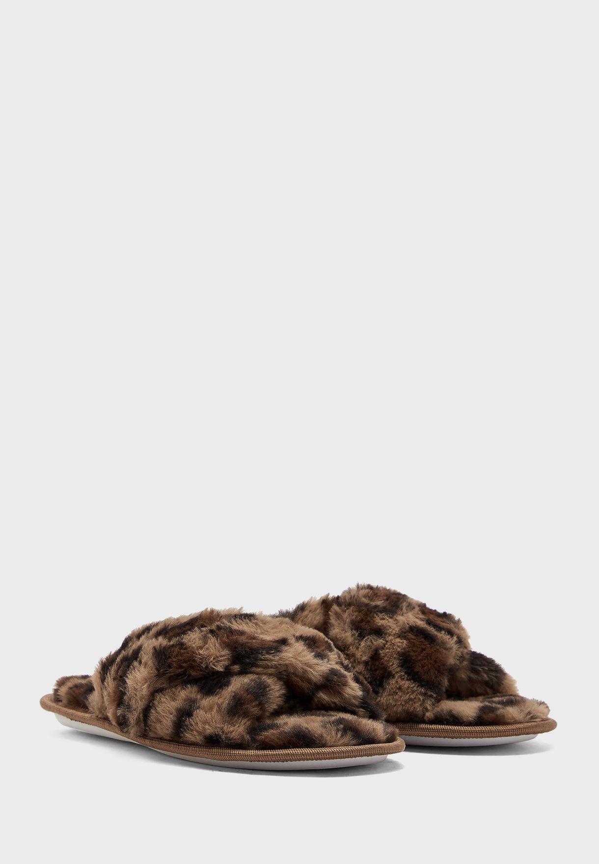 Leopard Fluffy Cross Slider