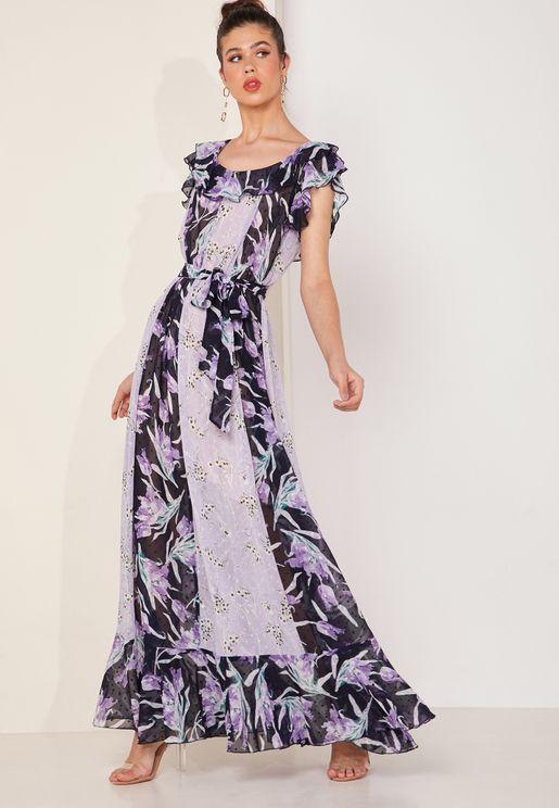 Lala Floral Print Ruffle Shoulder Maxi Dress