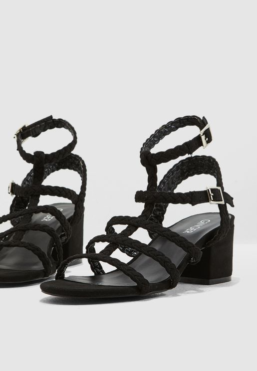 043470a5523 Block Heel With Plaited Strap Detail