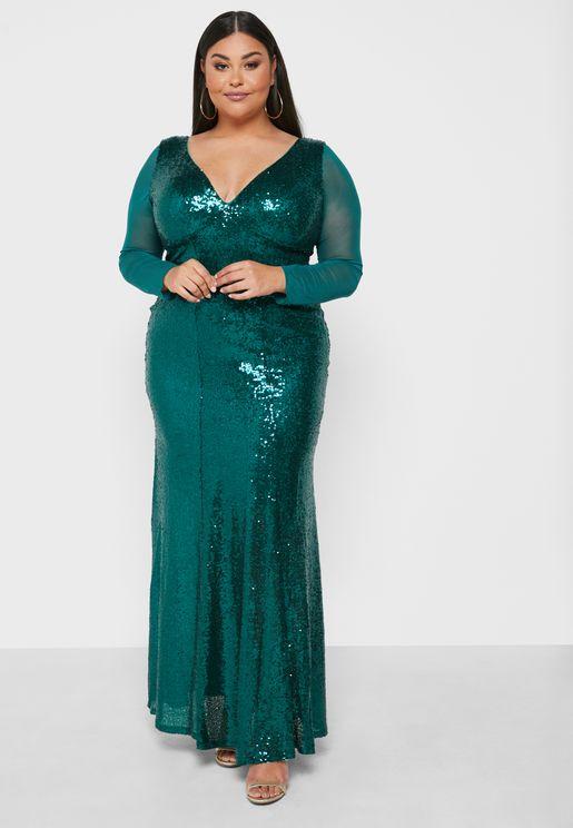 Sequin Plunge Neck Dress