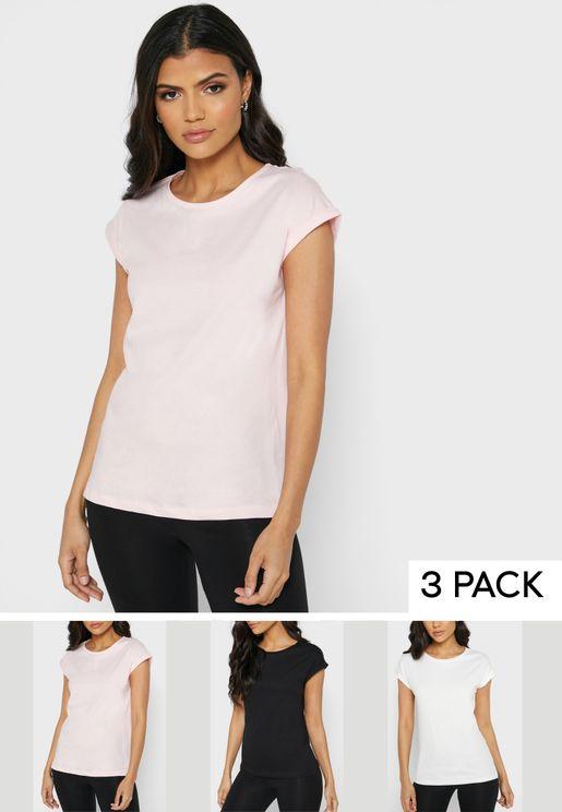 3 Pack Roll Sleeve T-Shirt