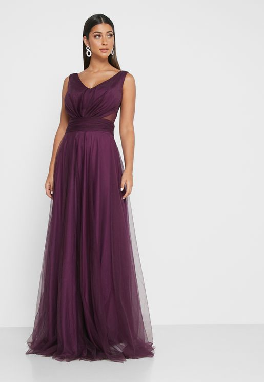 Sheer Waist Detail Maxi Dress