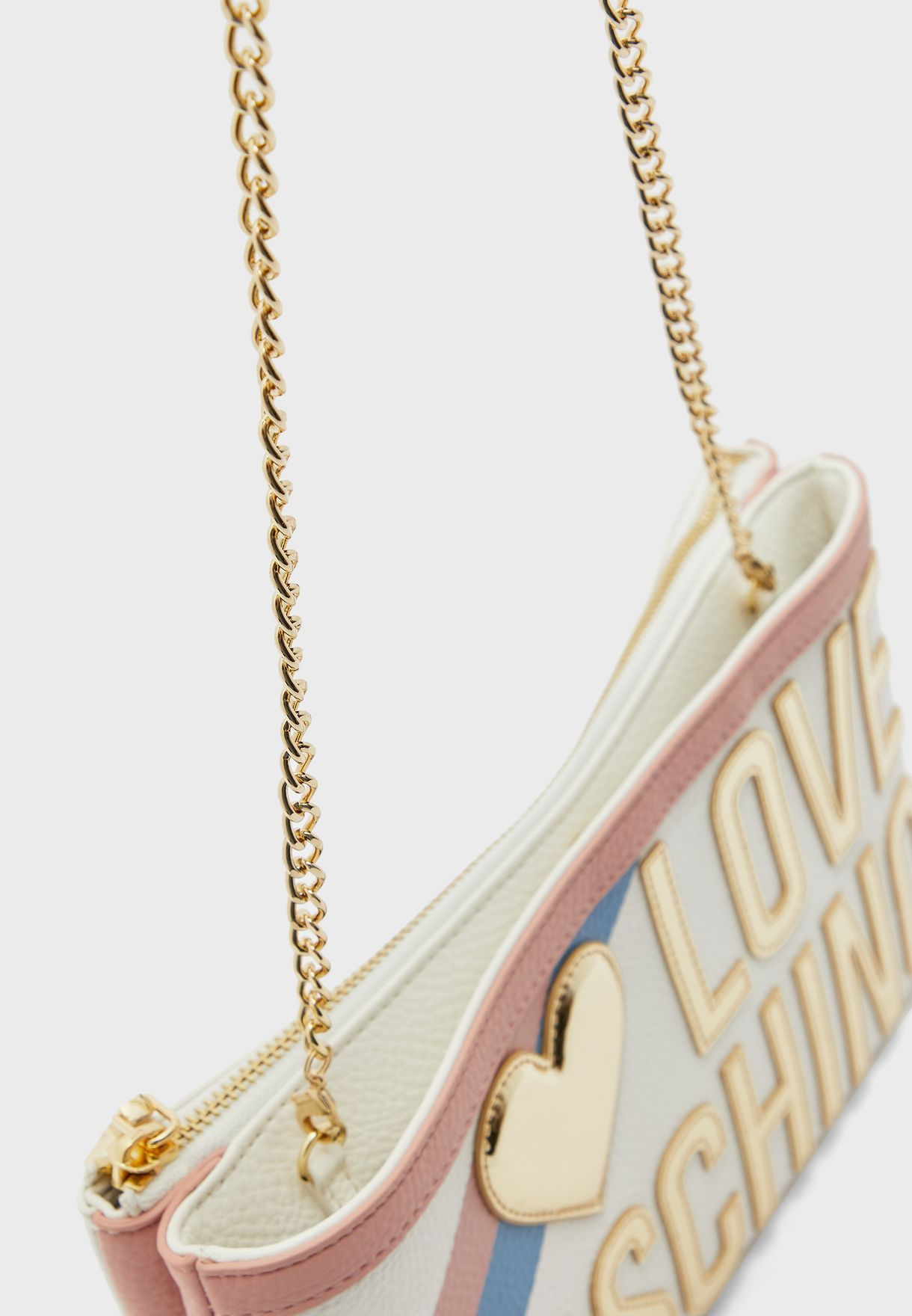 Logo Print Chain Detail Crossbody