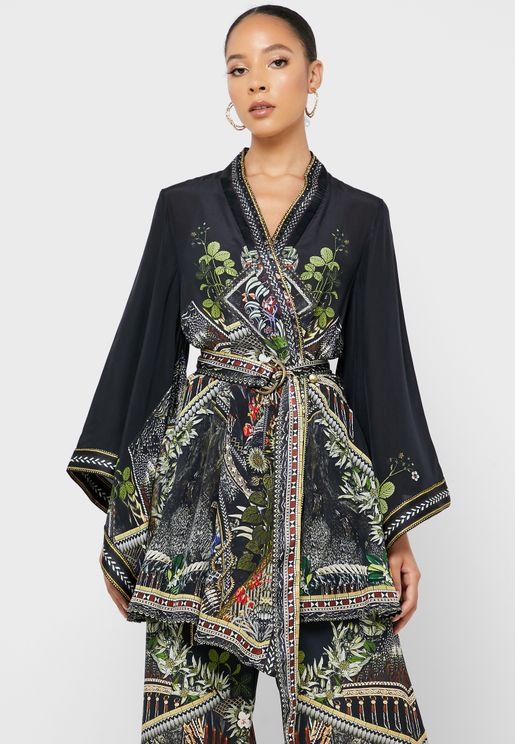 فستان مطبع باكمام واسعة