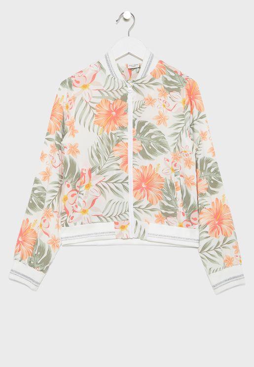 Kids Floral Bomber Jacket