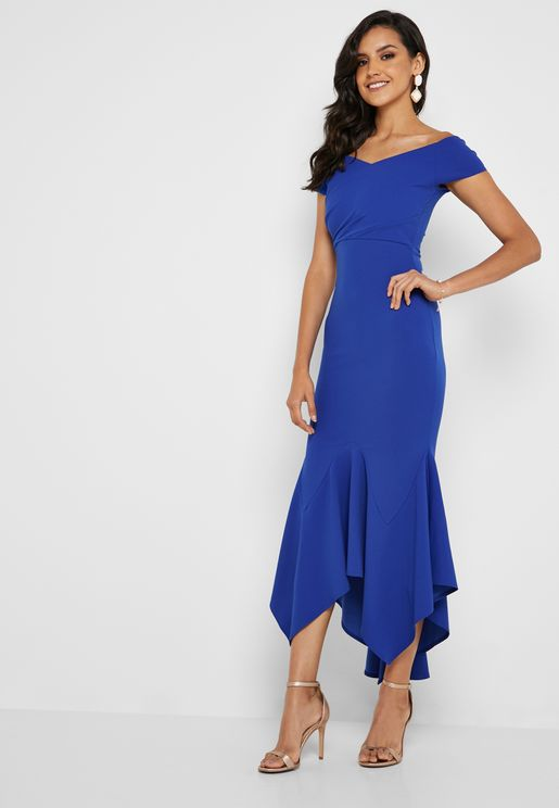 Bardot Asymmetric Hem Dress