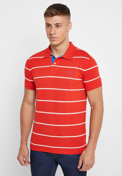 Contrast Striped Pique Polo