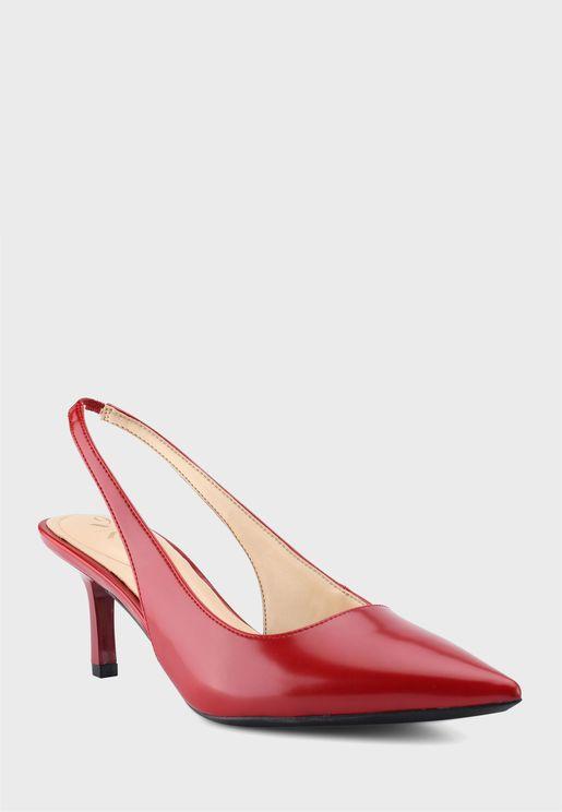 Pointed Sling Back Mid Heel Sandals