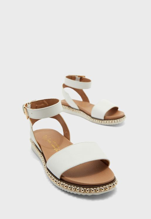 Wide Fit Felicia Ankle Strap Flat Sandal