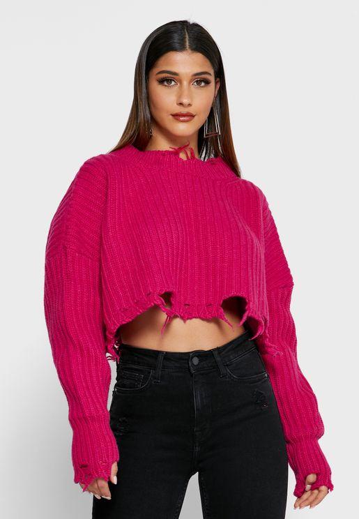 Raw Hem Sweater