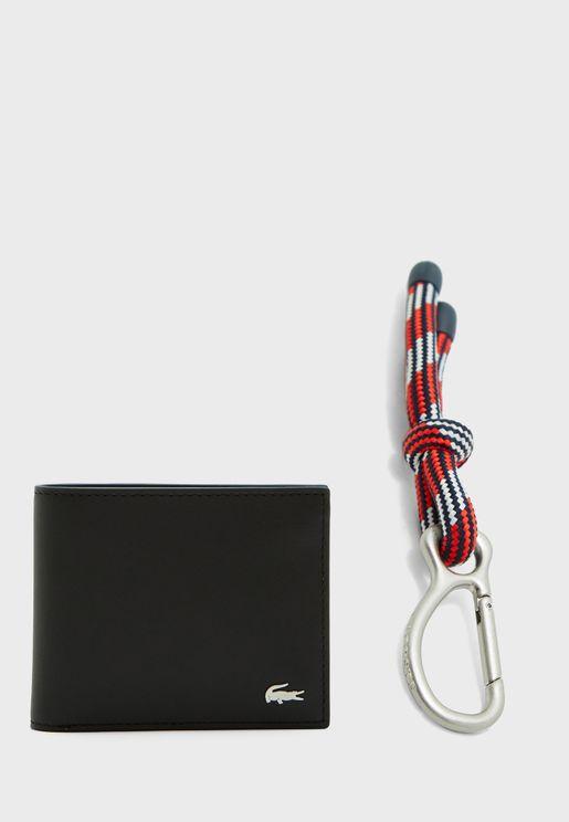 محفظة جلد اصلي وحمالة مفاتيج