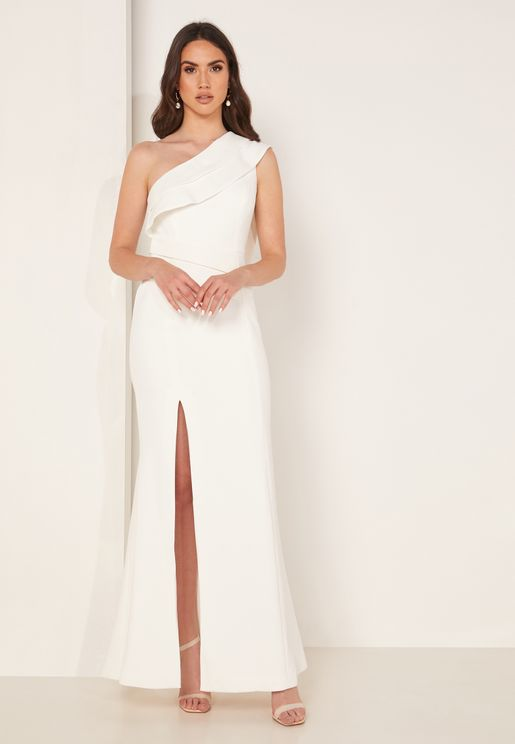 Fragment Side Split One Shoulder Dress