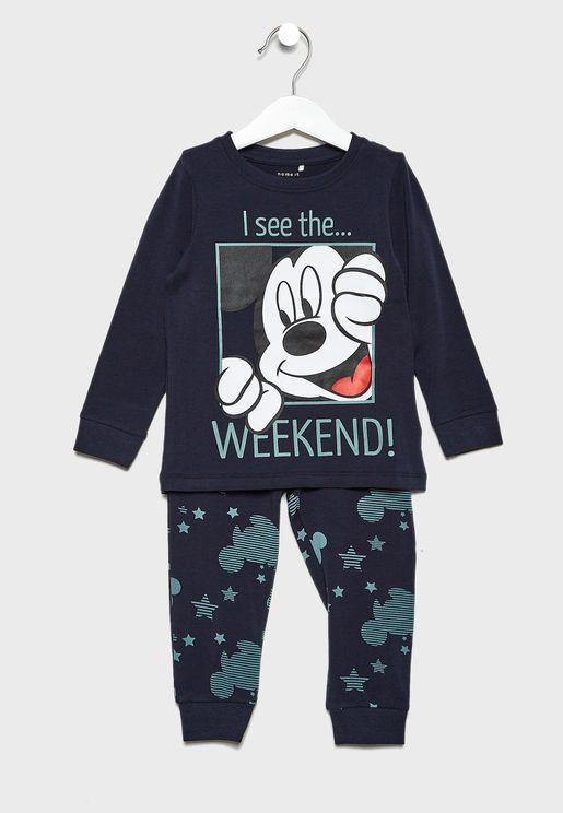 Kids Mickey T-Shirt + Printed Leggings Set
