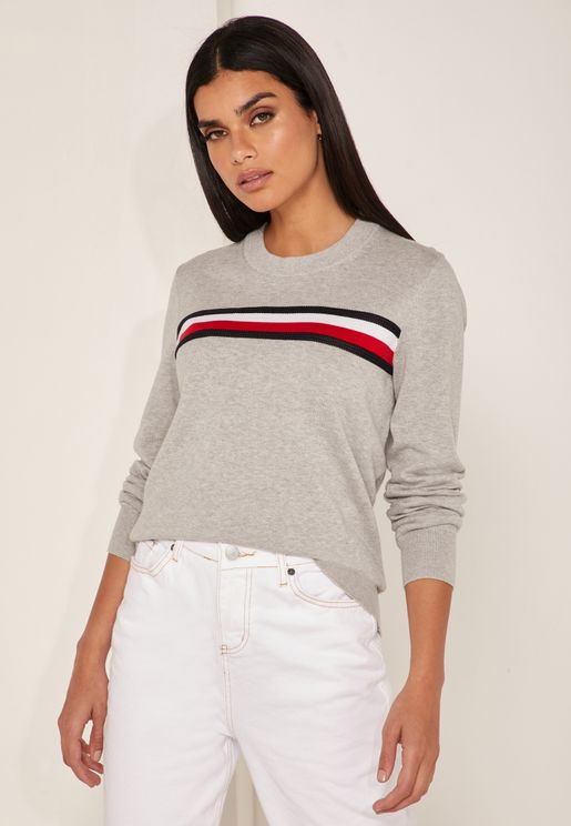 Striped Detail Logo Sweater