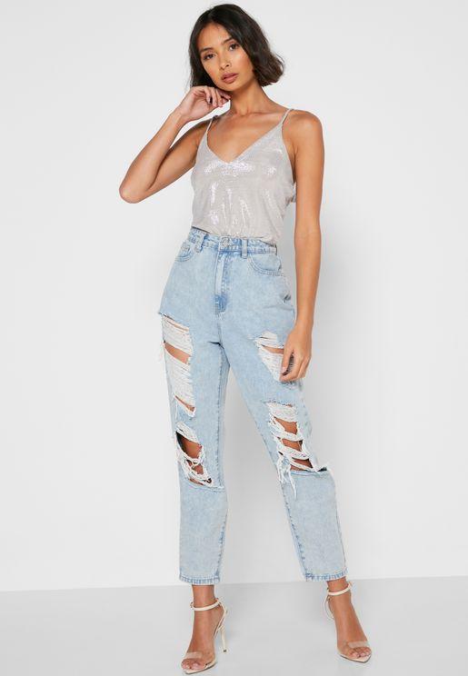 جينز الامهات بنمط ممزق