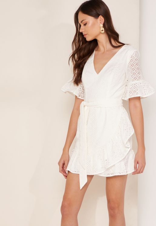Solstice Belted Wrap Broderie Dress