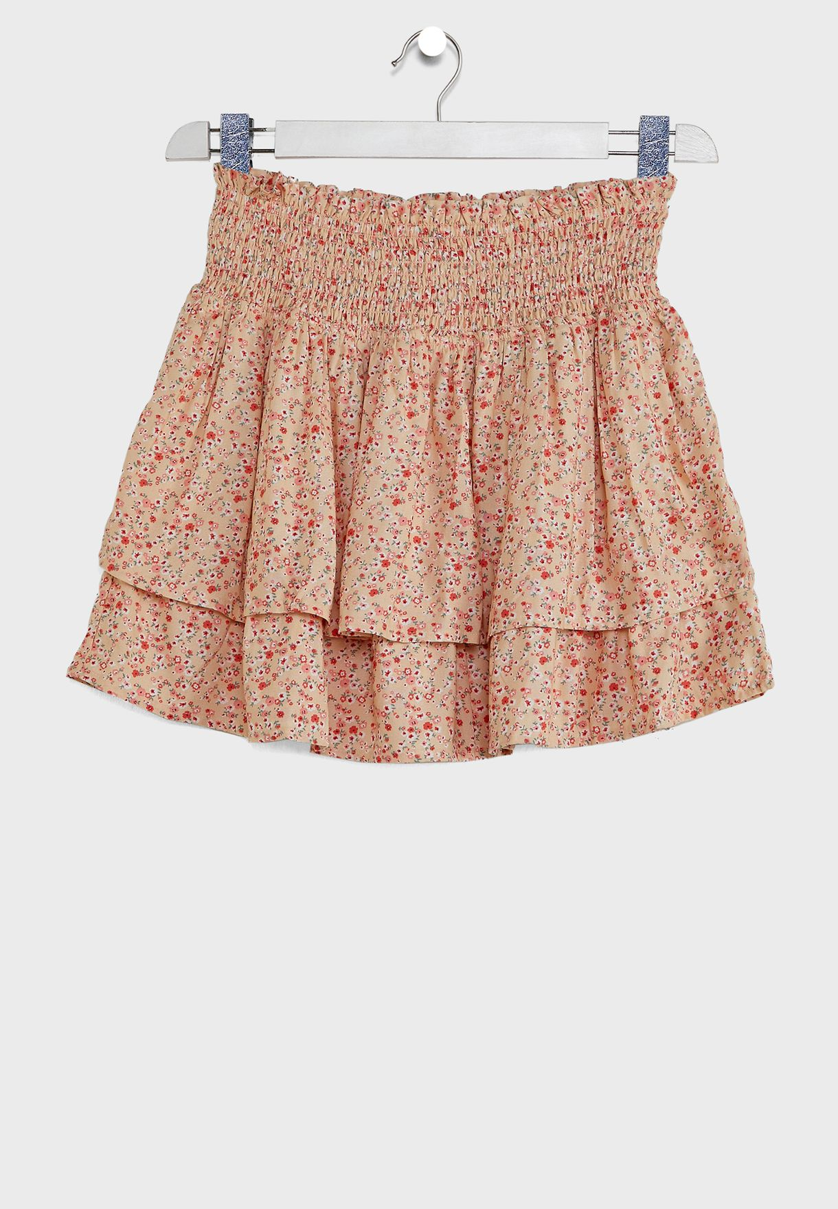 Kids Smoked Tiered Floral Skirt