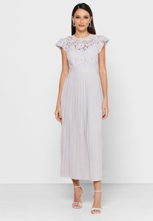 Lace Angel Sleeve Plisse Dress