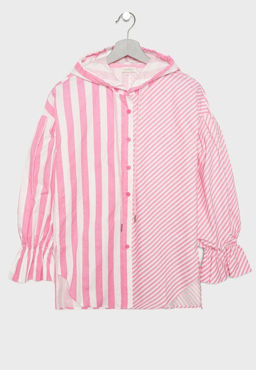 Teen Striped Hooded Dress