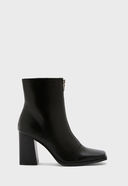 Zip Front Square Toe Boot