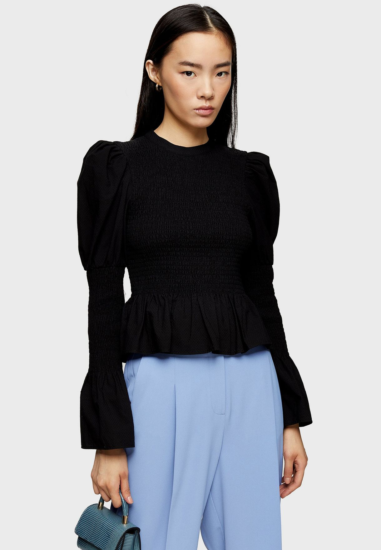 Shirred Puff Sleeve Top