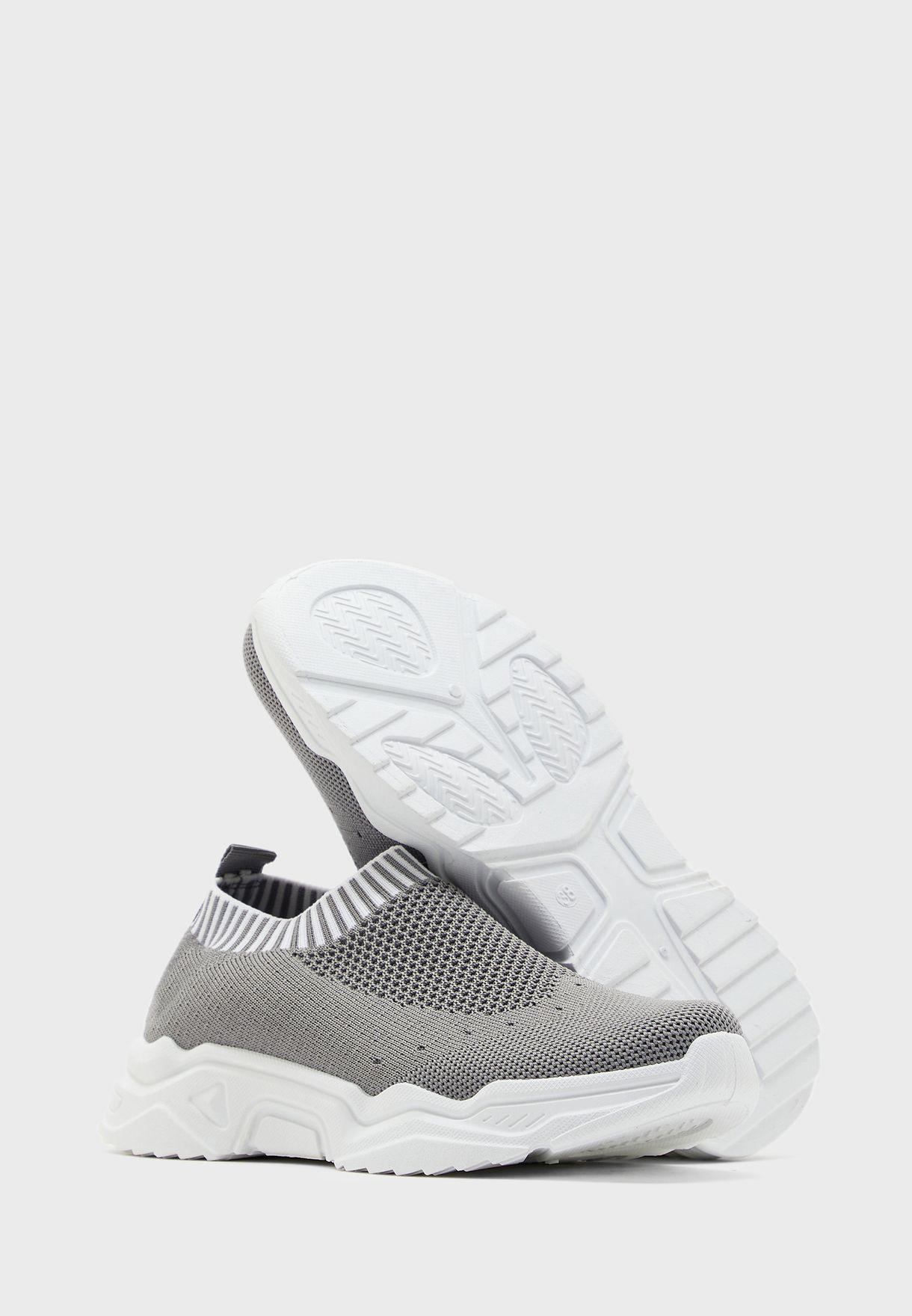 Stripe Cuff Knit Slip On Sneakers