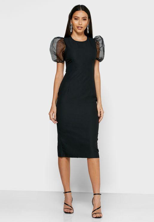 فستان ميدي بأكمام منفوشة شفافة