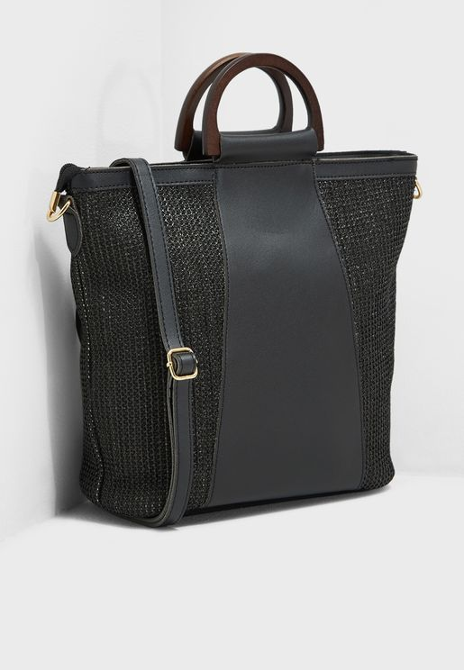 bfd912fc57 Handle Detail Textured Satchel