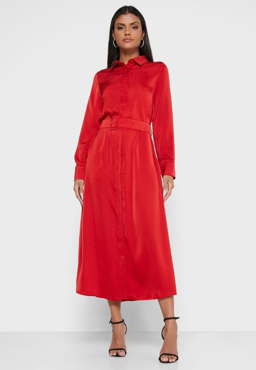 Button Down Soft Belted Dress