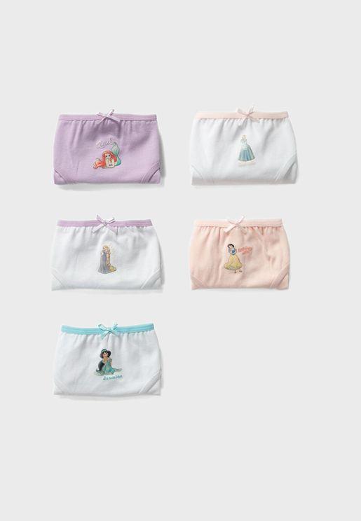 Kids 5 Pack Printed Underwear
