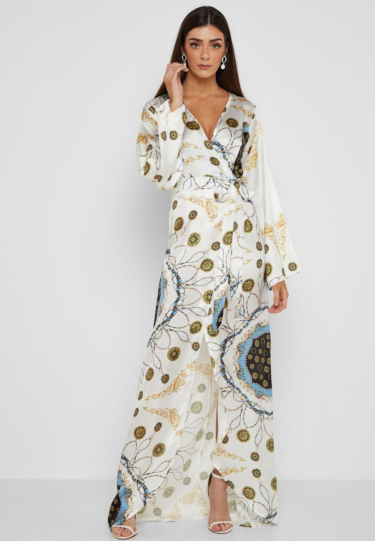 فستان ساتان مكسي مطبع