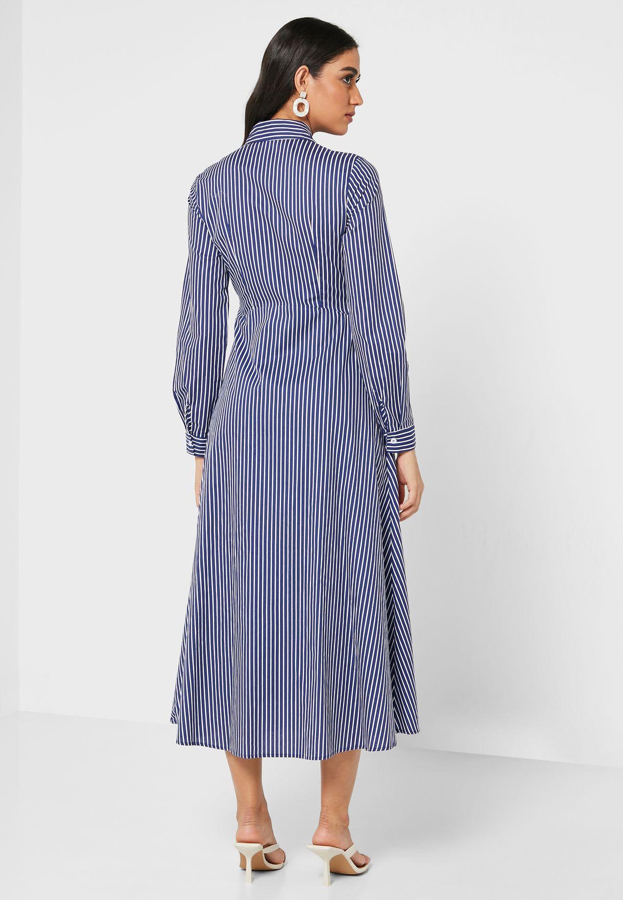 Striped Button Through Shift Dress