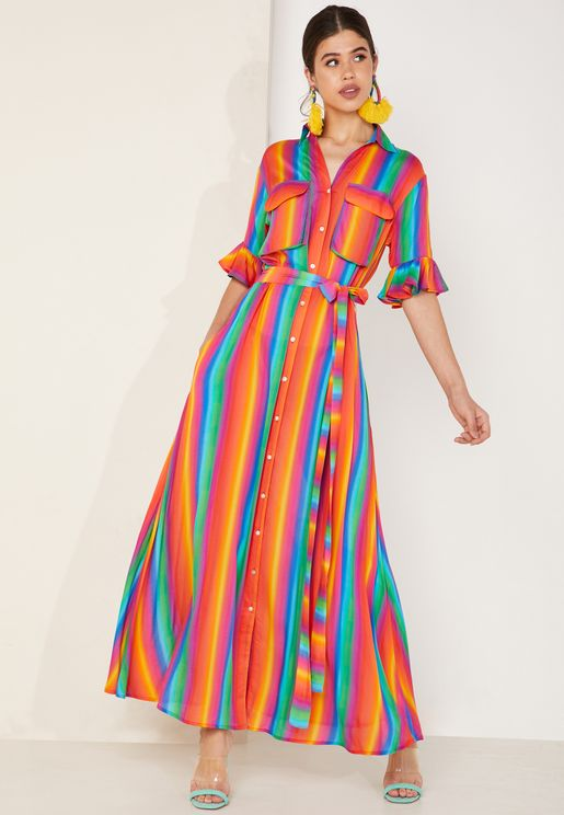 Leilani Striped Frill Sleeve Maxi Dress