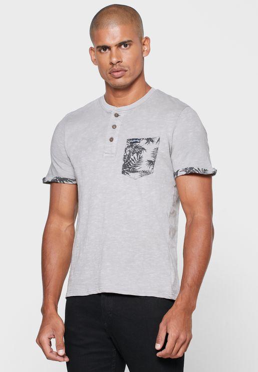 Contrast Pocket Grandad T-Shirt
