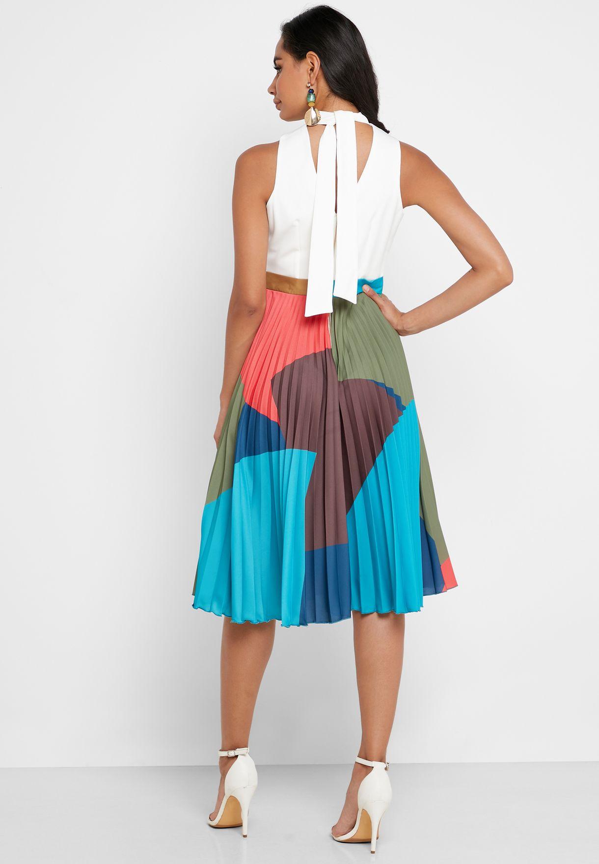 High Neck Printed Pleated Skirt Dress