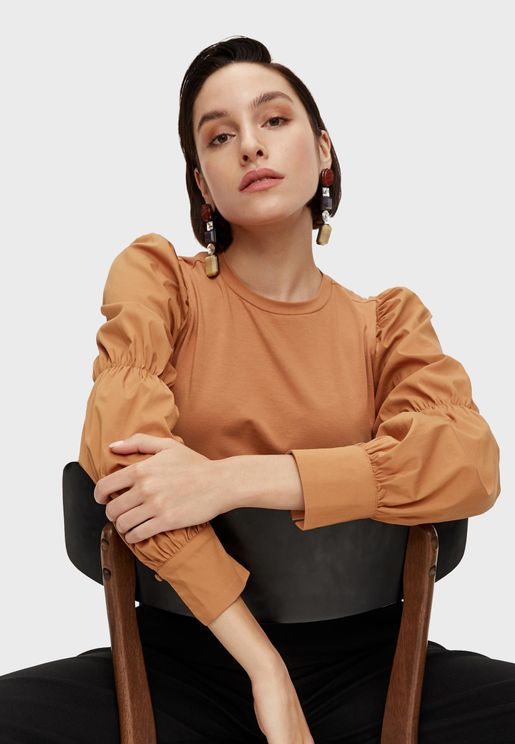 Ruched Detail Cuff Sleeve Top