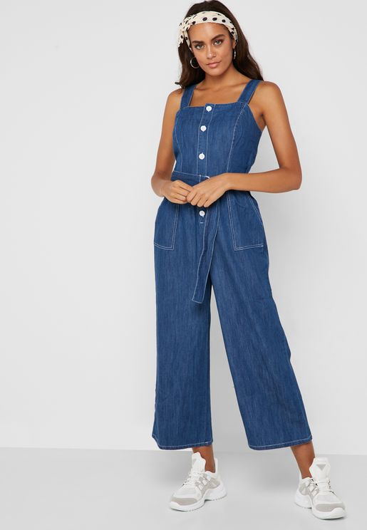 7f3d679b2842 Belted Denim Sleeveless Denim Jumpsuit