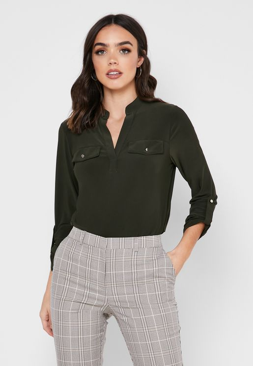 Roll Sleeves Placket Shirt