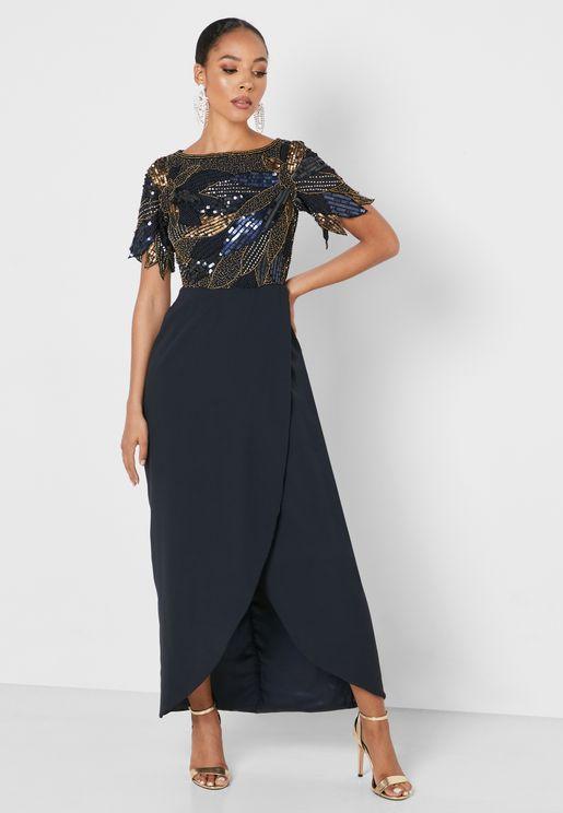 Front Slit Wrap Dress