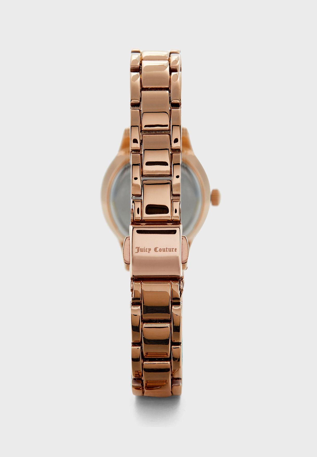 Steel Strap Analog Watch+Charm Bracelet Set