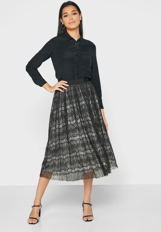 Pleated Lace Trim Midi Skirt