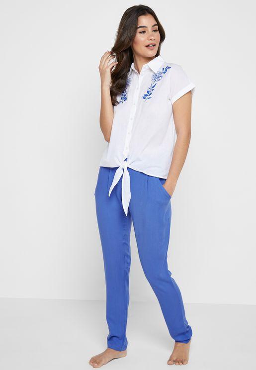 Embroidered Shirt & Pyjama Set
