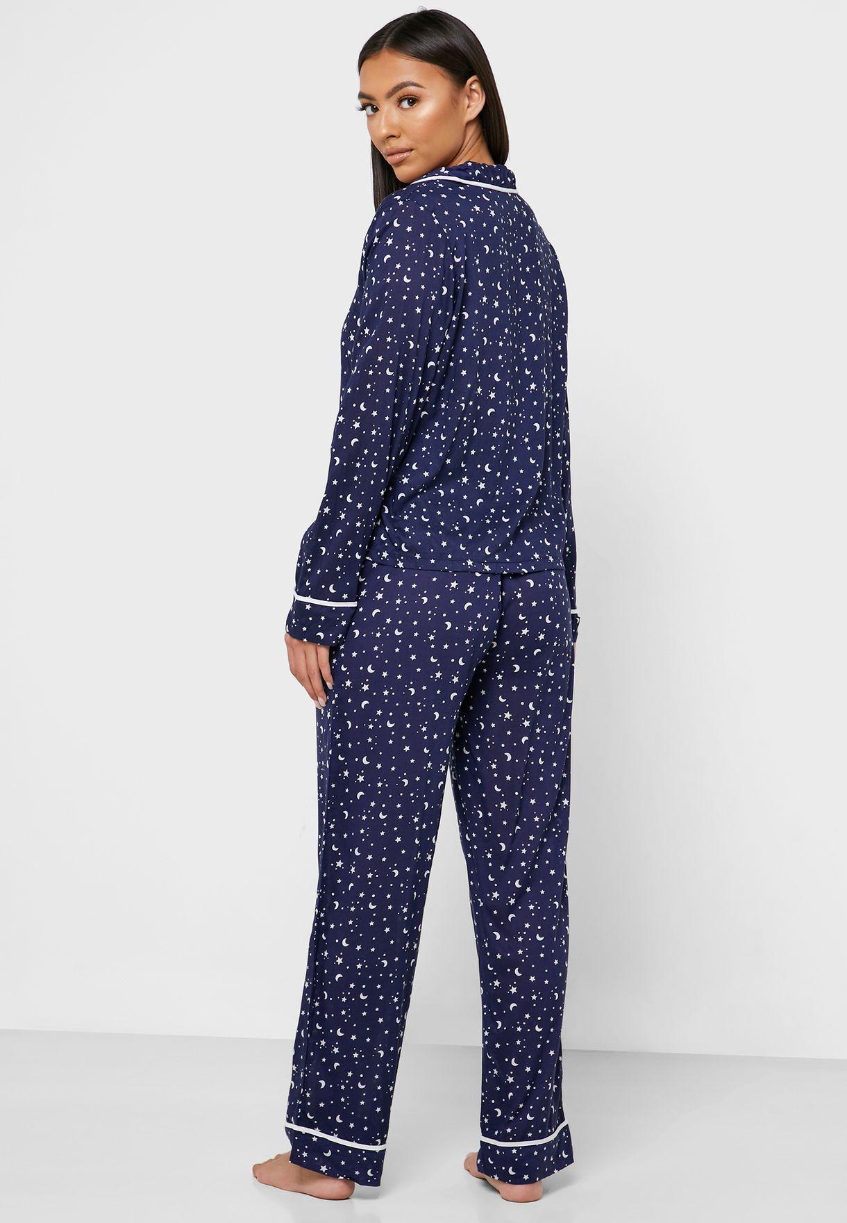 Star Print Piping Shirt & Pyjama Set