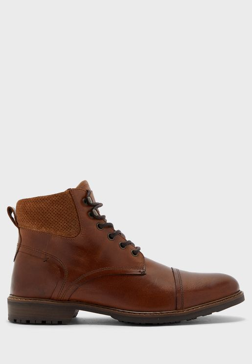 Genuine Leather Utility Boots